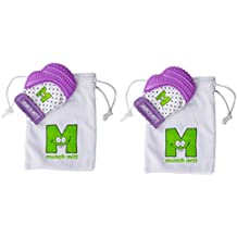 Munch Mitt® Teething Toy Stays on Baby's Hand is Self-Soothing Entertainment and Gives Pain Relief from Teething plus is Ideal Baby Shower Gift that includes Handy Travel/Laundry Bag– Set of 2 Purple