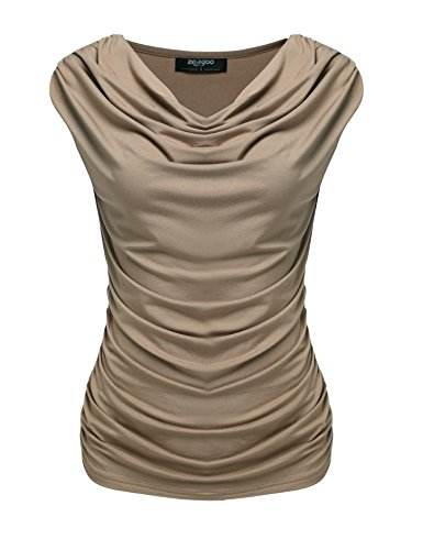 Top Drape Neck (Zeagoo Women's V Neck Ruched Sleeveless Sexy Blouse Stretch Tank Tops, Medium, Taupe)