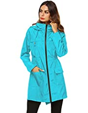 AKEWEI Women Lightweight Raincoat Waterproof Trench Coat Windbreaker Hiking Rain Jacket Breathable Summer Coat
