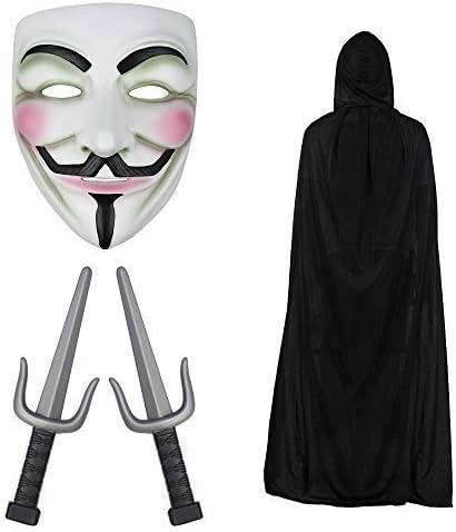 Robelli V de Vendetta máscara, con Capucha Capa & PUÑALES SAI ...