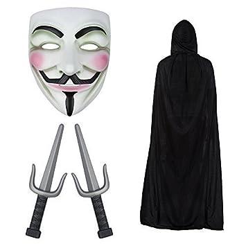 V de Vendetta máscara, con capucha Capa & PUÑALES SAI CUCHILLOS Disfraz Juego