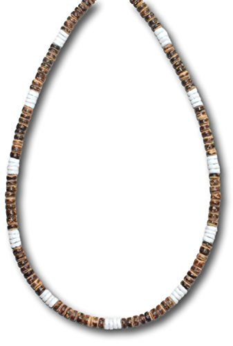 Native Treasure - 14 inch Little Kids Tiger Brown Wood Coco Beads 4 White Heishe Puka Shell Surfer Necklace - 5mm (3/16