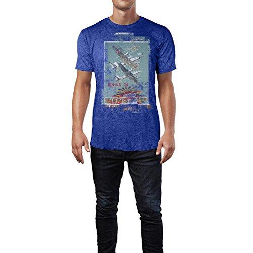 SINUS ART® Planes Herren T-Shirts stilvolles blaues Cooles Fun Shirt mit tollen Aufdruck
