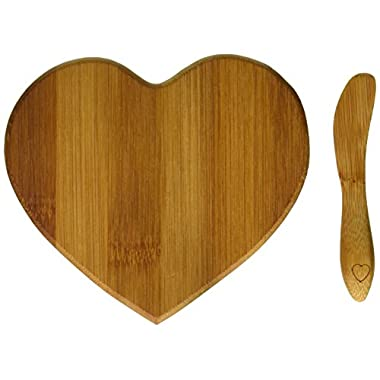 Kate Aspen Tastefully Yours Heart-Shaped Bamboo Cheese Board, Sage Green/Brown