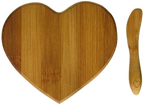 Kate Aspen Tastefully Yours Heart-Shaped Bamboo Cheese Board, Miniature Cutting Board, Sage Green/Brown -