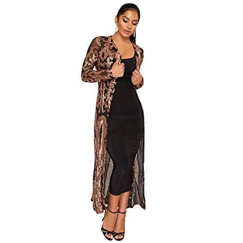 vnytop Women Black Totem Sequin Applique Long Sleeve Perspective Long Cardigan Cloak
