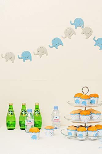 Elephant Garland Decorations, Elephant Baby Shower Banner, Boy Elephant Banner (Blue, Grey) 10 Feet, 24PCS
