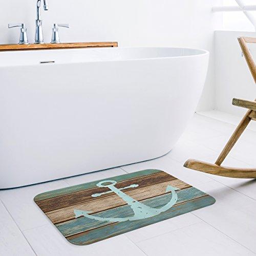 Indoor Doormat Stylish Welcome Mat Nautical Anchor Rustic Wood Board Entrance Shoe Scrap Washable Apartment Office Floor Mats Front Doormats Non-Slip Bedroom Carpet Home Kitchen Rug 23.6''x15.7'' by Prime Leader's doormats (Image #1)
