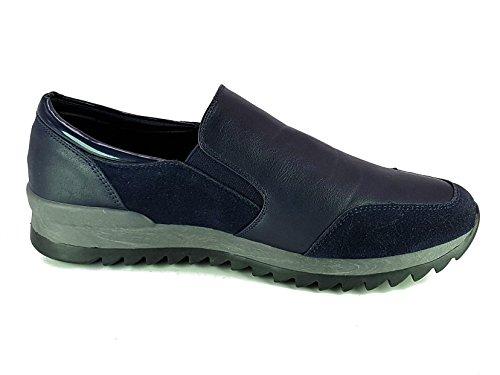 Shoes Scarpe da Passeggio Donna Ragazza Moda Comoda New Tacco Basso cm 3 TG 38 Colore Blu Tessuto Fin Pelle Modello da infilare con Molla