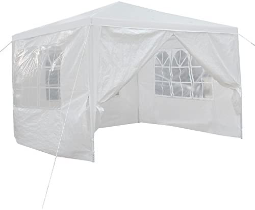 Smartxchoices White Gazebo Canopy Tent with Removable Sidewalls and Windows for Wedding Party Camping Gazebo BBQ Pavilion Canopy Sun Shelter Cater Events 10 x10