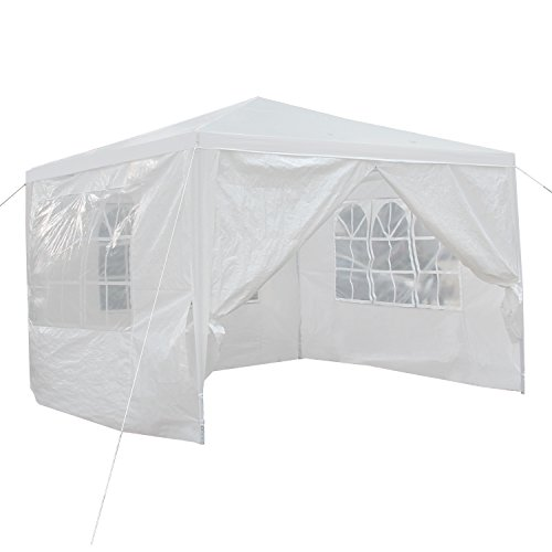 Smartxchoices 10′ x 10′ Outdoor White Waterproof Gazebo Canopy Tent with 4 Removable Sidewalls and Windows Heavy Duty Tent for Party Wedding Events Beach BBQ (10′ x 10′ with 4 Sidewalls) Review