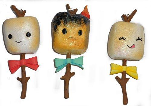 Marshmallow Ornament - Toasted Campfire Marshmallow Christmas Tree Ornaments-Set of Three-5