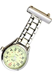 JAS Unisex Nurses Lapel Watch (Infection Control) Metal Linked - Silver with Luminous