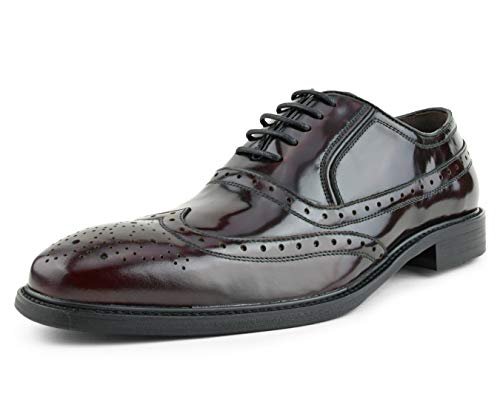 Asher Green Mens Genuine Box Calf Leather Wingtip Dress Shoe, Classic Lace-Up Oxford Style Burgundy