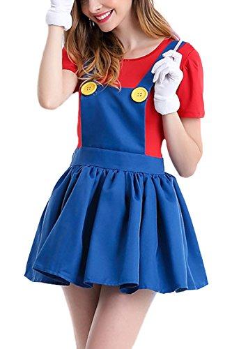 Cheap Super Mario Costumes (AIKOSHA ROMAN Women's Super Mario Skirt Halloween Deluxe Role-playing Cosplay Costume)