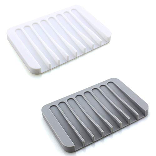 Bathroom Soap Dishes Dish Holder Stand Saver Tray Case for Shower-Silicone Rubber Drainer Dishes for Bar Soap Sponge Scrubber Bathroom Kitchen Sink-Dishwasher Safe-Drains Water,Extends Soap Life