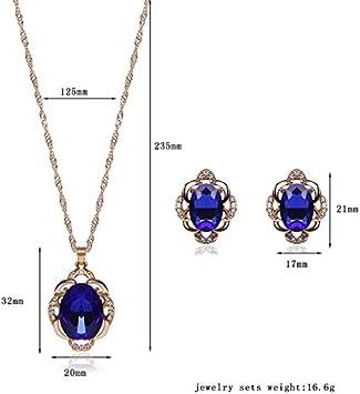 Dunkelblau Gespout Elegant Kristall Stil Halskette Ohrringe mit Anh/änger Mode Schmuckset f/ür Damen