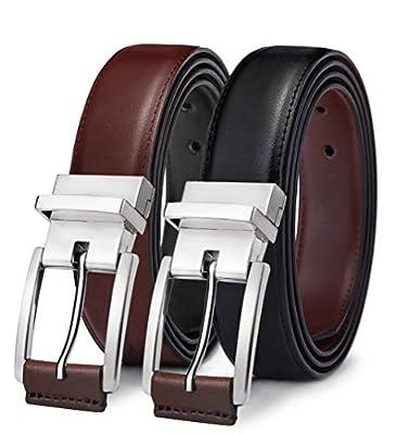 "Men's Belt,Bulliant Reversible Belt for Mens Dress Casual Golf Belt 1.25"",Size Adjustable,One Reverse for 2 Colors"