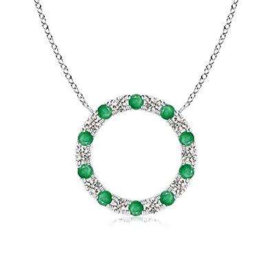 eb163afa85867d Amazon.com: Eternity Round Emerald and Diamond Open Circle Pendant Necklace  for Women in Platinum (1.5mm Emerald): Jewelry