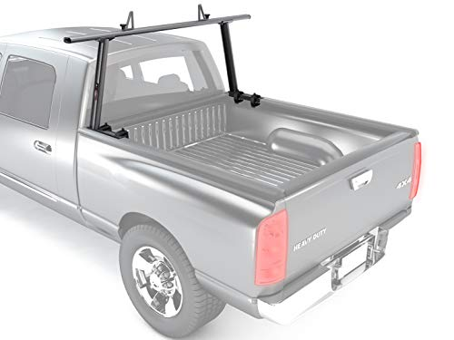 AA-Racks Model APX25-A Extendable Aluminum Single Bar Pick-Up Truck Ladder Rack (No Drilling Required) - Dark Gray