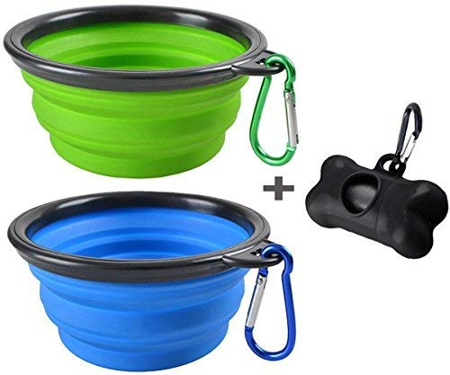 - MOGOCO 2 Pack Large Portable Collapsible Dog Bowl,Foldable Travel Bowl Dish for Pet Dog Cat Food Water Feeding,Including a Black Poop Bag Holder Dispenser and a Roll of Bags,(Blue and Green)