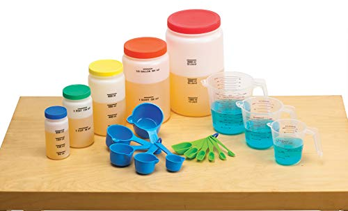 - edx Education Liquid Volume Measuring Set - 5 Bottles - 3 Pitchers - 5 Measuring Cups - 6 Measuring Spoons