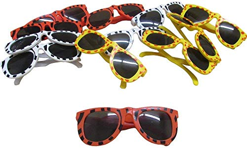 Assorted Animal Safari Printed Sunglasses Party Favor Sunglasses for Themed Parties and Beach - Leopard Tiger and Zebra Styles | Assorted Animal Colors - Pack of 12