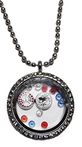 Marvel Comics SPIDERMAN Round Crystal FLOATING CHARMS LOCKET Necklace]()