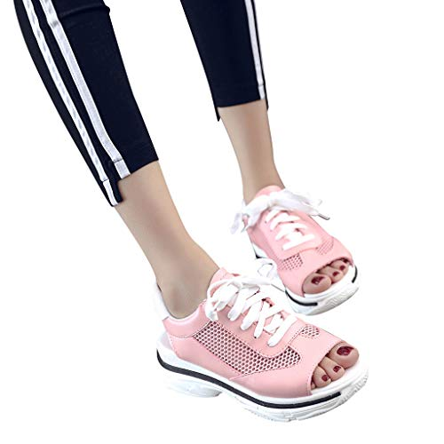Women Outdoor Water Sport Athletic Sandals Peep Toe Casual Breathable Lace Up Shoes (US:7.5, Pink)
