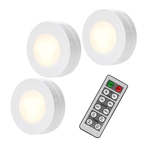 SOLLED Wireless LED Puck Lights, Kitchen Under Cabinet Lighting with Remote Control, Battery Powered Dimmable Closet Lights, 4000K Natural Light-3 Pack ()