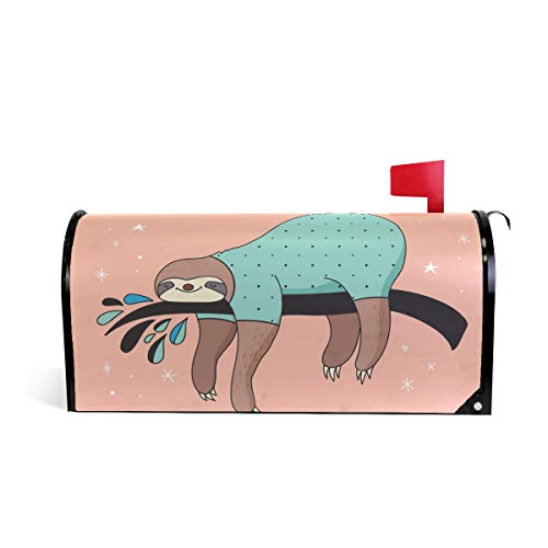 (Sheep Sloth Slow Down Magnetic Mailbox Cover Mailwraps for Medium Large Post-Mount Mail)