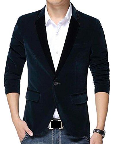 Pivaconis Men's Solid Corduroy Suit Vintage Formal Slim Fit Blazer Coat Dark Blue XL
