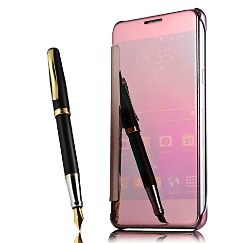 iPhone 7 Plus /iPhone 8 Plus 5.5 inch Mirror Case,Shinetop Luxury Slim Fit Metal Plating Smart Clear View Window Case Flip PC Hard Cover 360 Degree Full Body Shockproof Protective Skin Cover-Rose Gold