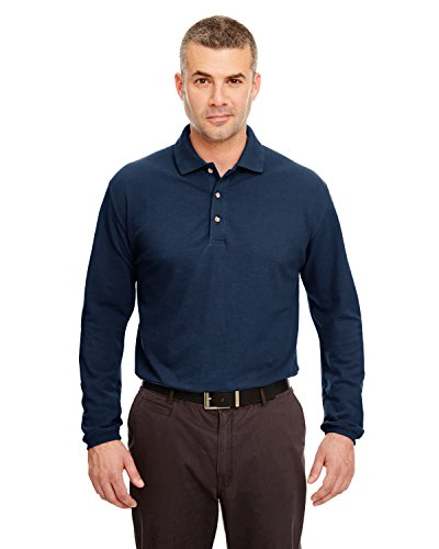 - UltraClub Mens Long-Sleeve Classic Pique Polo (8532) -NAVY -XL