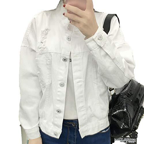 KEBINAI White Jeans Coats for Women Single-Breasted Ripped Denim Jackets Female Long Sleeve Abrigos Mujer,White,M