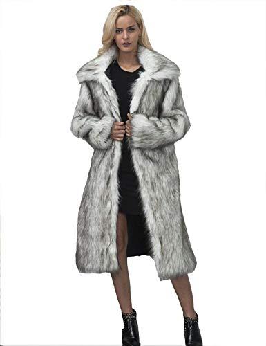 Manica Transizione Giubotto Invernali Bavero Donna Glamorous Cappotto Lunga Grau Caldo Pelliccia Semplice Party Giacca Di Qualità Alta Lanuginoso qzBBOwaE