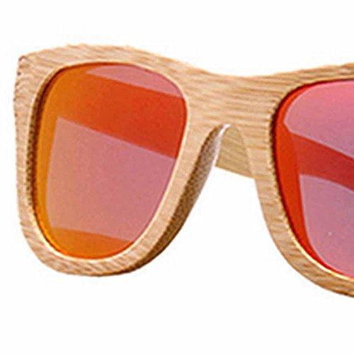 en Hommes Lumière Boîte Rangement de Bambou Sunglass Avec pour Polarisée Femmes Vintage Red UqF1wn