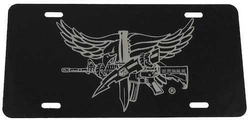 SWAT Operator Insignia Black License Plate-Laser Etched