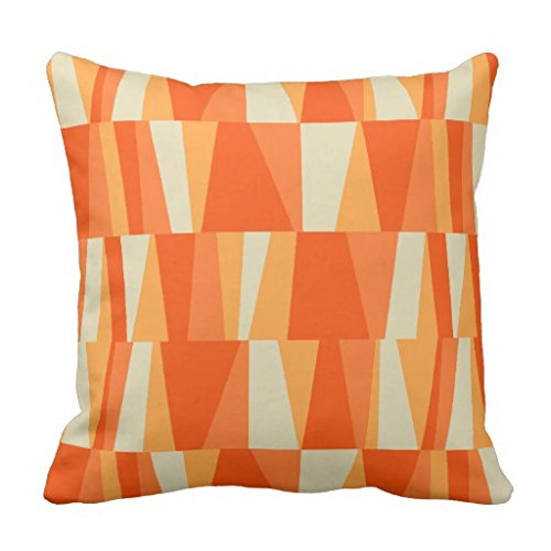Geo Abstract Triangle Patchwork tiger lily pumpkin Pillow Co