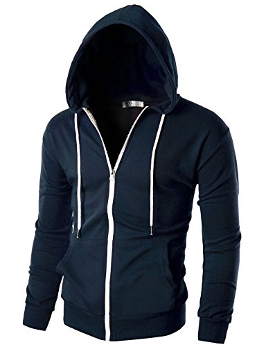 Ohoo Mens Slim Fit Long Sleeve Lightweight Zip-up Hoodie with Kanga Pocket/DCF002-NAVY-L ()