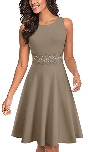 HOMEYEE Women's Sleeveless Cocktail A-Line Embroidery Party Summer Wedding Guest Dress A079(8,Brown)