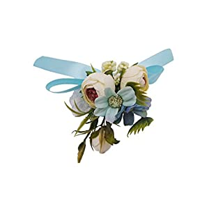 Abbie Home Wedding Wrist Corsage Brooch Boutonniere Set Party Prom Hand Flower Decor (8003-WB) 2