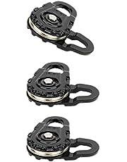 Bonarty 3Pcs Heavy Duty Winch Snatch Block Black 1:10 RC Car Crawlers
