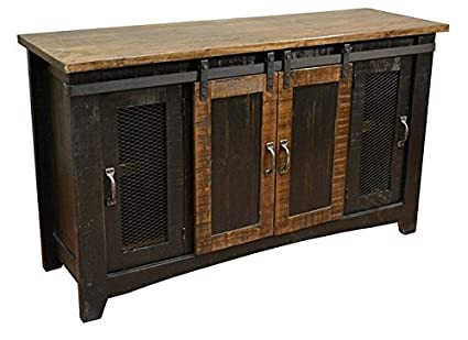 Anton Black Finish 60u0026quot; Rustic Sliding Barn Door TV Stand Console