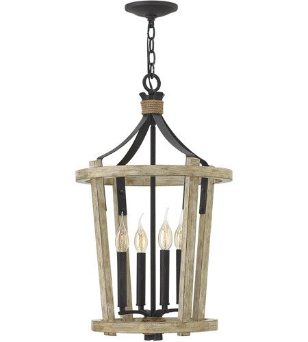 Pendants 4 Light With Cottage Whitewash Finish Wood and Steel Material Candelabra Base 15 inch 240 Watts