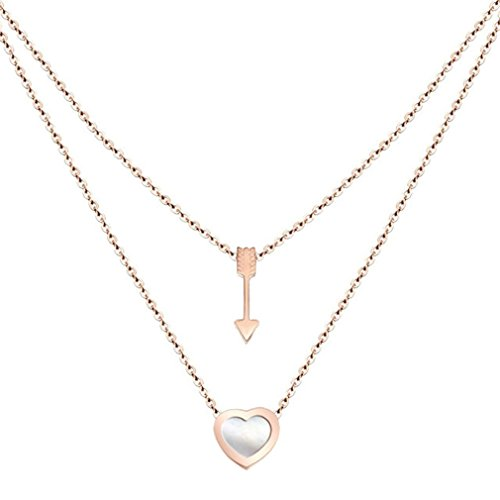 Steel White Shell Heart Arrow Double Layer Rose Gold Pendant Necklace Girl 's woman's (Double Shell Pendant Necklace)