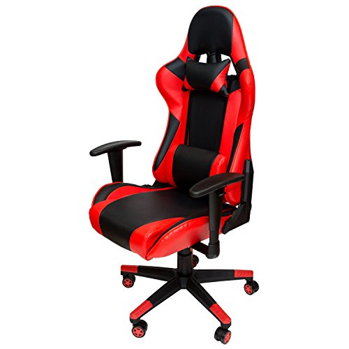 Sleekform Gaming Desk Chair | Large & Stylish High-Back Racing Style Office & Home Reclining Computer Chair with Lumbar Support | Adjustable Armrests & Headrest | Soft & Comfortable Ergonomic Racer