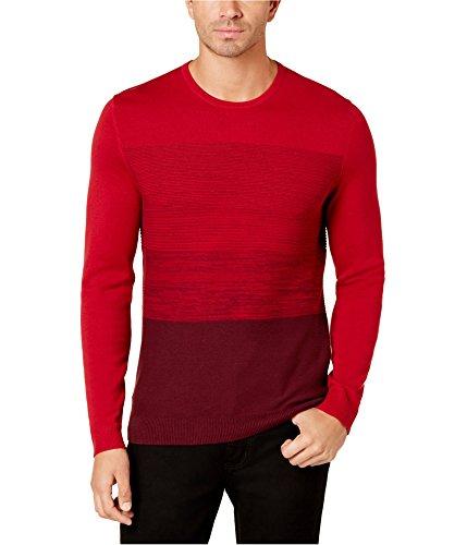 Alfani Mens Colorblock Knit Sweater Red - Sweater Red Alfani