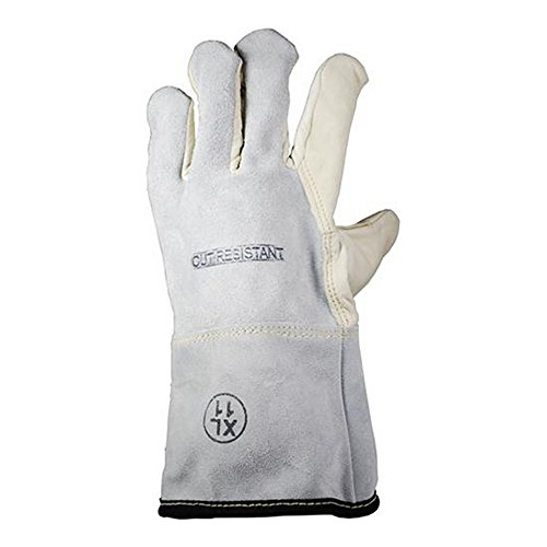 Magid Glove & Safety AXT6575G-11 Cut Master Aramax AXT6575G Lined Cow Grain Full Leather Gloves, Cut Level 4, Size 11, Grey/White (Pack of 12)