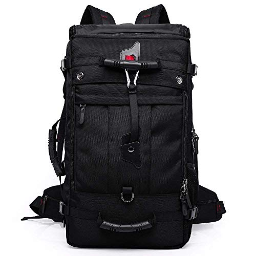 KAKA Oxford Backpack 50L Big Bag Outdoor Hiking Carry on Traveling Tactical Climbing Mountaineering Knapsack Camping Large Size Bag #2070 Black